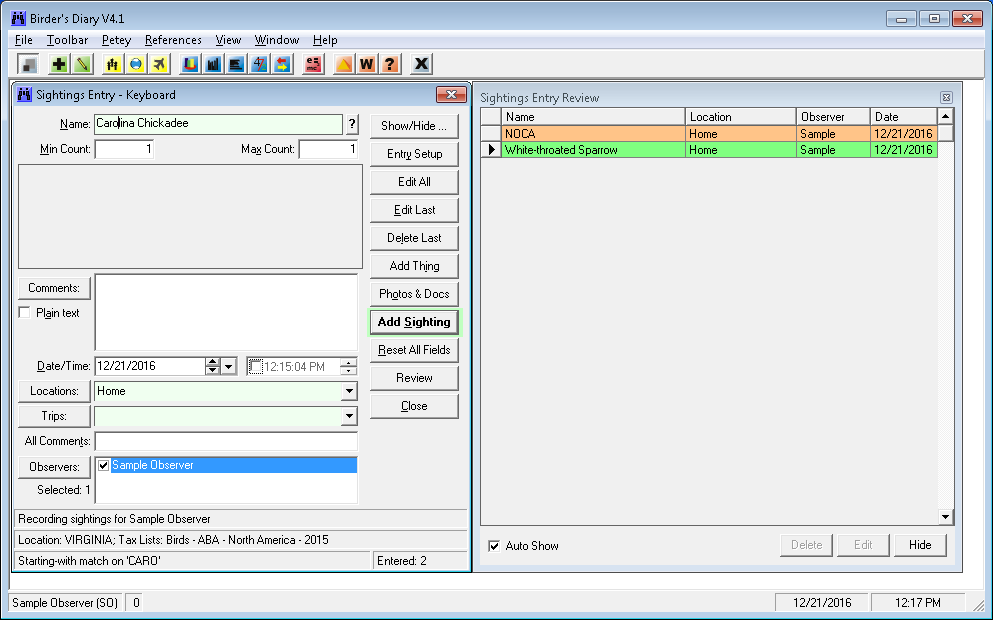 birder s diary software